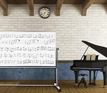 Music school with two pianos and a blackboard - rendering